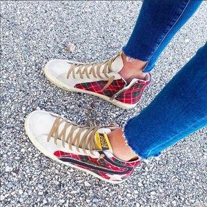 Golden Goose Red Tartan Slide High Top Sneakers